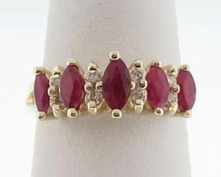 Estate Natural Red Ruby Diamonds Band Solid 14k Yellow Gold Ring