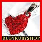 White Gold GP Plated RED HEART Use SWAROVSKI Crystal Pendent Necklace