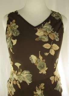 Sz 14 Top & Sz 10 Skirt Karen Kane Brown Sheer Floral 2 Piece Dress