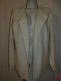 BFS11~NWT MODERN SOUL Cream Wool & Rayon Blend Ribbed Long Slv Sweater