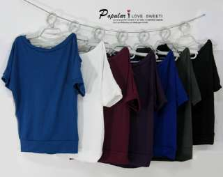 Stylish Korea Casual Ladies Women Half Off Shoulder Top Blouse T shirt