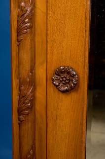 English Antique Carved Walnut Hanging Wall Mirror