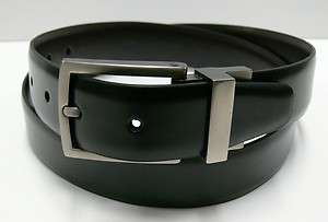New Kenneth Cole Mens Reversible Black Brown Leather Dress Belt 1 1/4