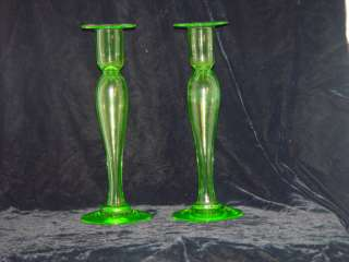 PAIRPOINT MOUNT WASHINGTON CANDLESTICKS GREEN |
