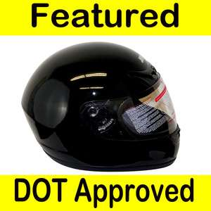 Motorcycle Full Face Sports Bike Street Helmet Gloss Black DOT Size XL