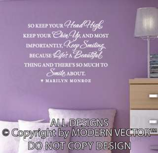 MARILYN MONROE Quote Vinyl Wall Decal Lettering KEEP SMILING LIFES