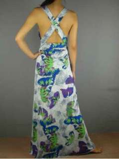 NWT Just Cavalli Deep V Neck Sexy Butterfly Printed Long Dresses White