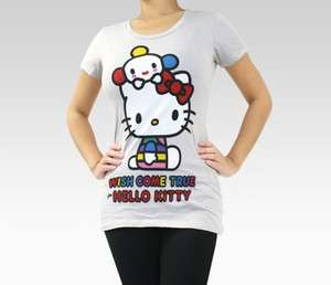 SANRIO HELLO KITTY WISH COME TRUE FRIENDS WITH YOU GREY T SHIRT