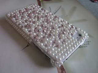 Luxury Bling Crystals & Pearls Hard Case Cover for Apple iPhone 4 4G