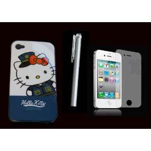 hello kitty iphone 4 case cover blue +LCD screen + stylus