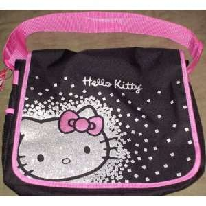 Glitter Hello Kitty Messenger Bag Black and Pink Sports