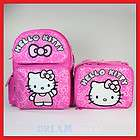 Hello Kitty Pink Glitter 14 Backpack and Lunch Bag Set   Box MED