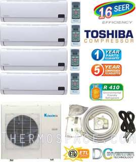 42000 BTU Ductless Mini Split Air Conditioner  9000 x 2 + 12000 x 2