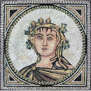 32x32 Roman Bust Mosaic Art Tile Mural Wall Decor