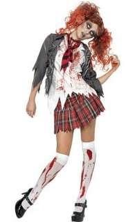 high school horror zombie school girl adult costume includes grey