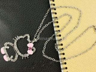 hello kitty cat swarovski crystal girls long chain necklace CH4070