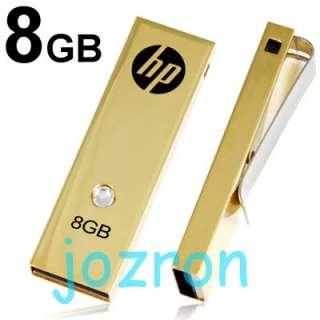 HP c335w 8GB 8G USB Flash Drive Gold +Swarovski Crystal