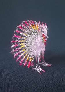 Hand Made BLOWN GLASS Carnival MENAGERIE Figurine PEACOCK