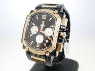 MASTER JOE RODEO GOLD BLACK SQUARE FACE WHITE DIAMONDS WATCH G CLASS