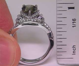 Natural Green Sapphire Diamond Engagement Wedding Ring 18k Gold