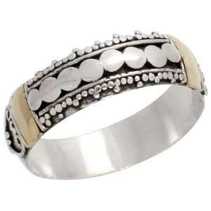 Sterling Silver Bali Style Band, 1/4 (6mm) wide, size 10