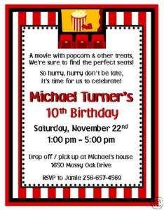 12 Custom Movie Birthday Invitations~Personalized Free
