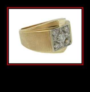 Mens 10K Yellow Gold Diamond Dinner Ring