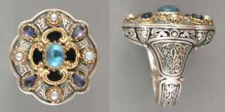 Konstantino silver,18KY gold and blue topaz/iolite ring