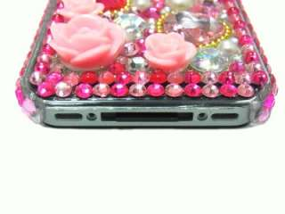 Crystal Dark Pink Flower Case Cover for iPhone 4 4G 4S PD US
