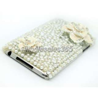 3D Flower Back Cover For Ipod Touch 2G 3G Gen Bling Crystal White Case