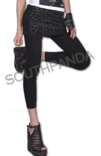 SL341 Black Punk Gothic Rhinestone Soft Pants Legging