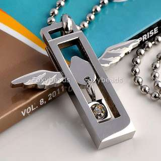 Mens 316L Stainless Steel Love Heart Silvery Angel Wings Pendant