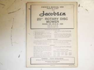 Jacobsen Ford 20 Rotary Disc Mower Manual 1950s