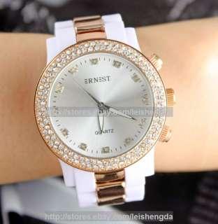 Luxury Crystal White Ladys Women Quartz Wrist Watch