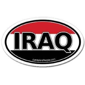 Iraq and Iraqi Flag Car Bumper Sticker Decal Oval