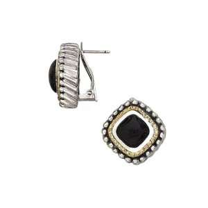 18K Yellow Gold with Sterling Silver Italian Agate Earrings