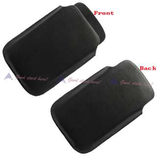 Black Leather Pocket Case Pouch For BlackBerry Torch 9800
