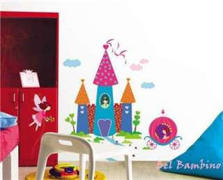 PRINCESS FAIRY CASTLE & CART   Removable Wall Stickers Girls Bed Room