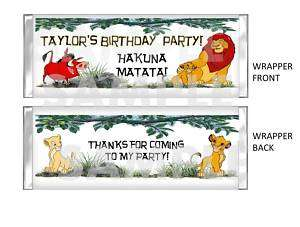 LION KING SIMBA candy bar wrapper BIRTHDAY PARTY
