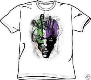 Batman JOKER AIRBRUSH Adult White Tee Shirt T Shirt