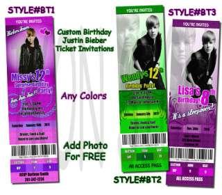 Custom Justin Bieber Birthday Photo Invitation Ticket