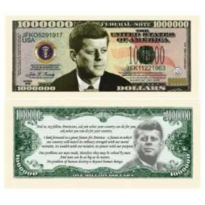 John F Kennedy Million Dollar Bills Case Pack 100 Toys