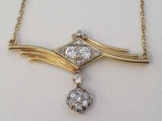 VINTAGE ANTIQUE ART DECO .64CT EUROPEAN CUT DIAMOND 14K GOLD NECKLACE