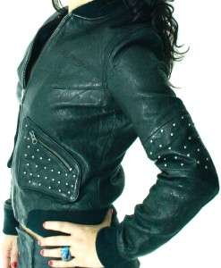 Christian AUDIGIER Womens Black Lamb Leather Biker Jacket NWT M