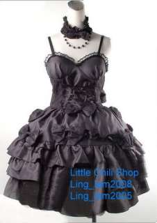 Dolly Gothic Punk Lolita Party Dress+necklace 61182 Blk