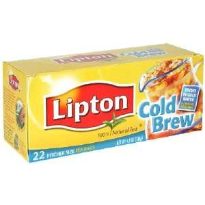 Lipton Cold Brew Iced Tea, Pitcher Size Tea Bags, 22 Count (Pack of 6)