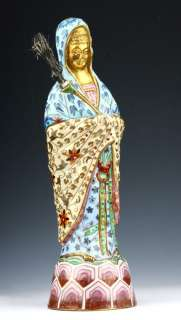 RARE OLD CRAFT GOLD PLATED CLOISONNE STATUE KWAN YIN