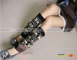 Women Fashion Vintage Snowflake Loose Thigh Knee Long Socks Stockings