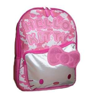 Kitty LARGE School Backpack Bag Tote BIG Shinny FACE