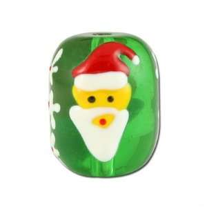 17mm Hand Painted Santa Head Lampwork Beads Arts, Crafts